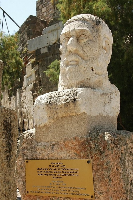Bust of Herodotos outside the Bodrum Museum